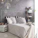Cozy Bedroom With Touch Of Creativity Stock Image Image Of
