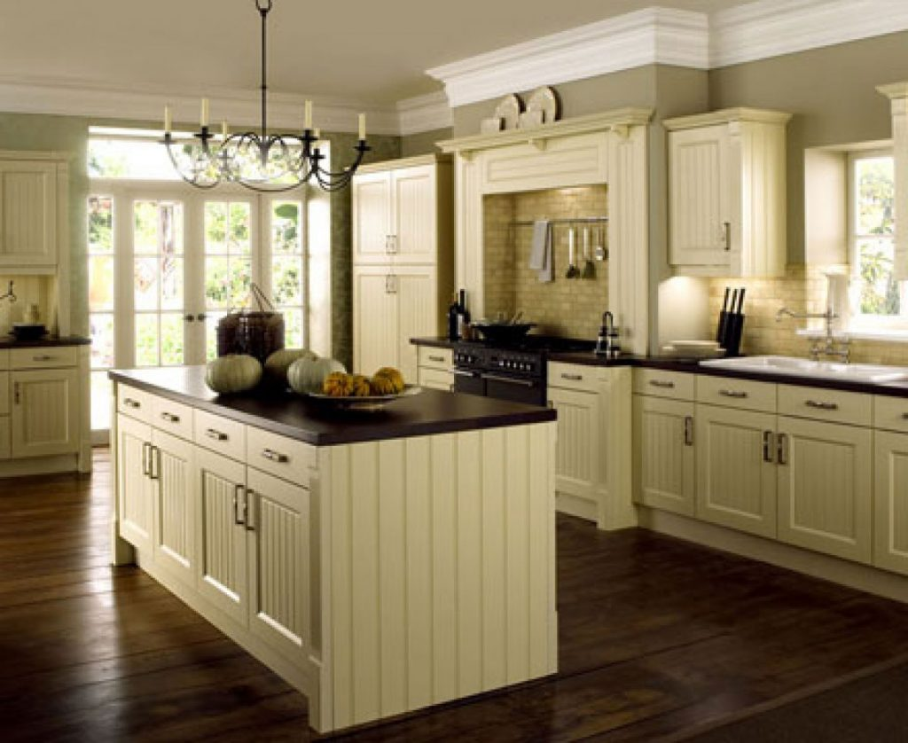 Cream Color Kitchen Cabinets With Dark Floors Kitchen Design