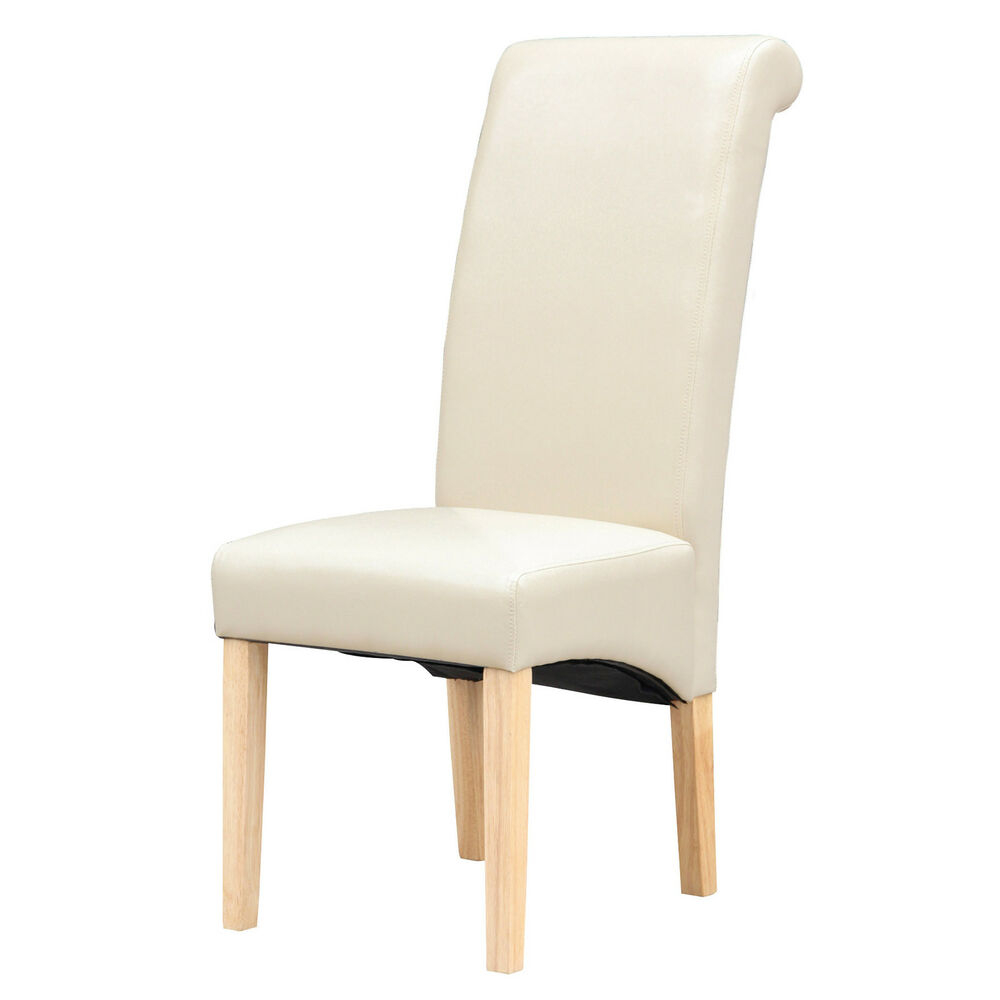 Cream Faux Leather Dining Chairs Roll Top Scroll High Back Wood Legs