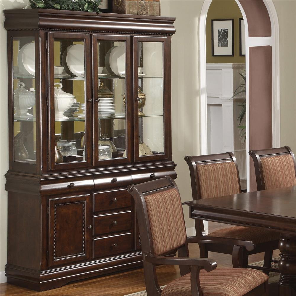 Crown Mark Louis Phillipe Buffet And Hutch With Three Glass Doors