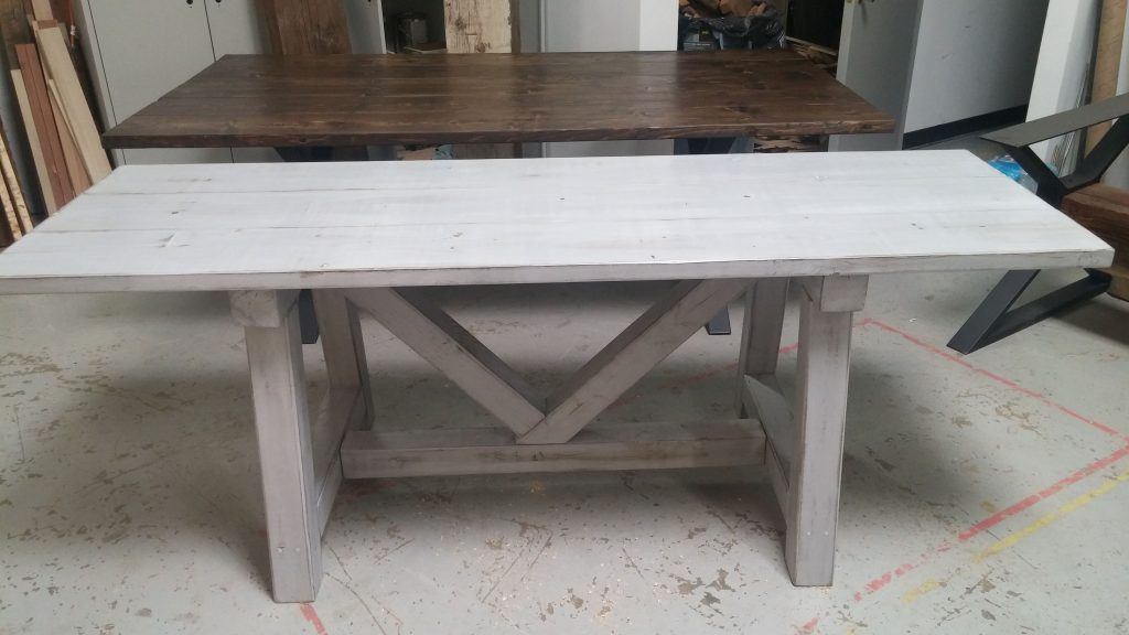 Custom Distressed Grey Trestle Farmhouse Table Reclaimed Wood