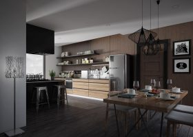 Dark Industrial Kitchen