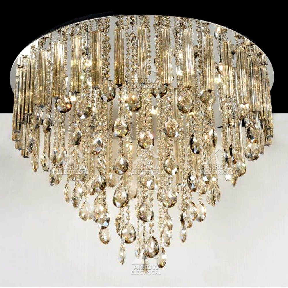 Decorative 21 Light 65cm Ceiling Crystal Chandelier In Gold