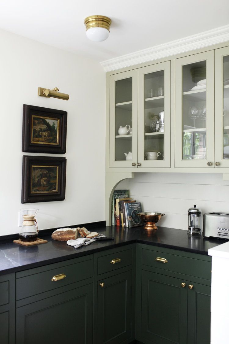 Deep Forest Green Kitchen Cabinetry Paired With A Soft Sea Foam