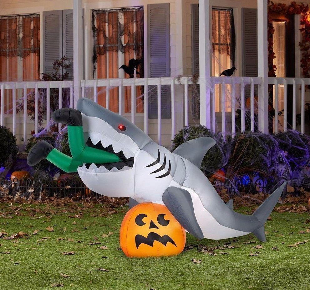 Details About New Animated Jaws Shark On Pumpkin Halloween Airblown
