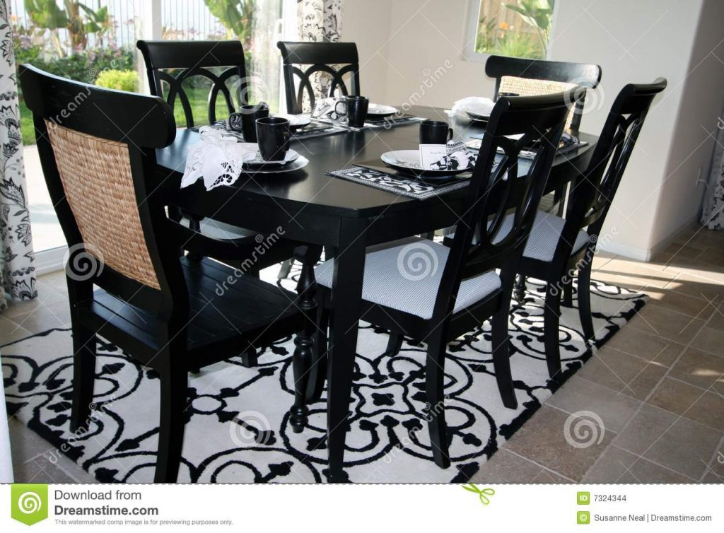 Dining Set In Black And White Stock Photo Image Of Details Home