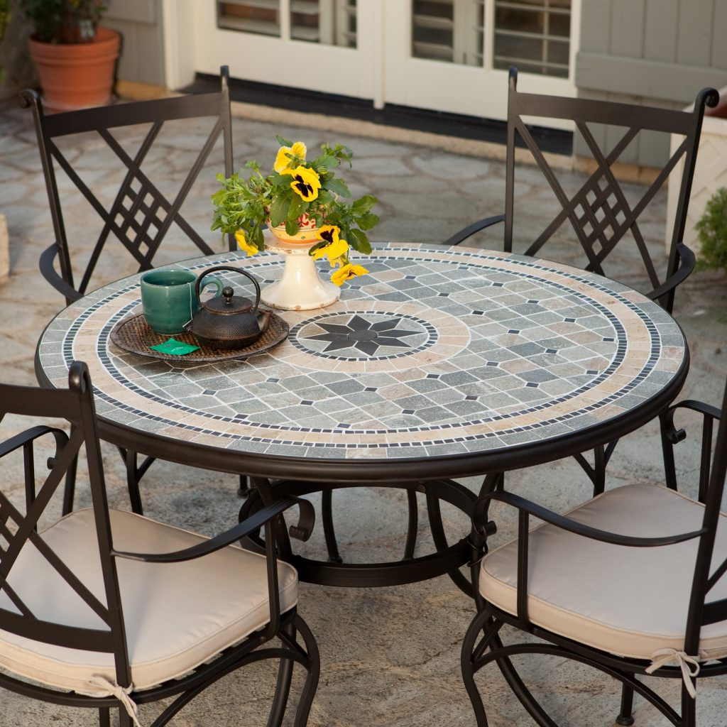 Dining Table Patio Dining Table Mosaic Navy Blue Adirondack Chairs