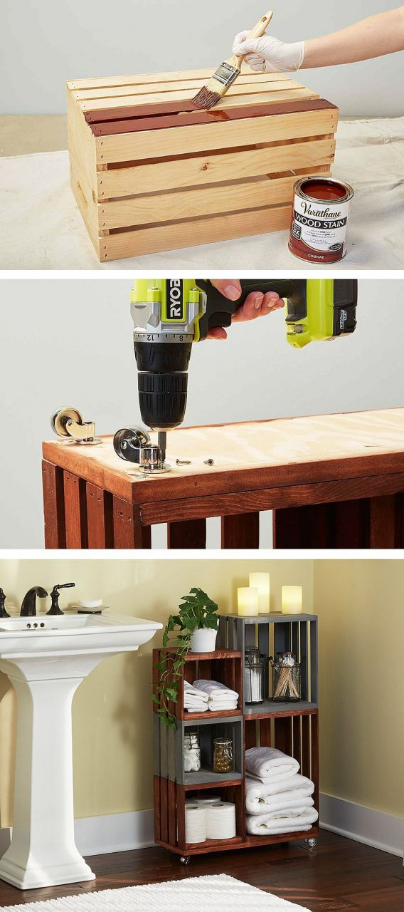 Diy Bathroom Storage Shelves Made From Wooden Crates Easy Diy