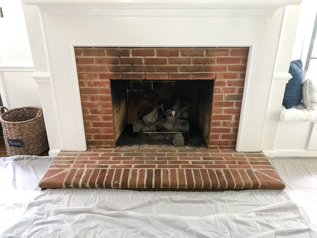 Diy Lime Washed Brick Fireplace Blesser House