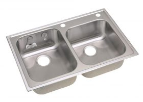 2 Hole Kitchen Sink Double Basin Drop In