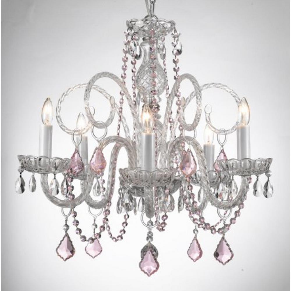 Empress 5 Light Crystal Chandelier With Pink Crystal Pendant T40 552