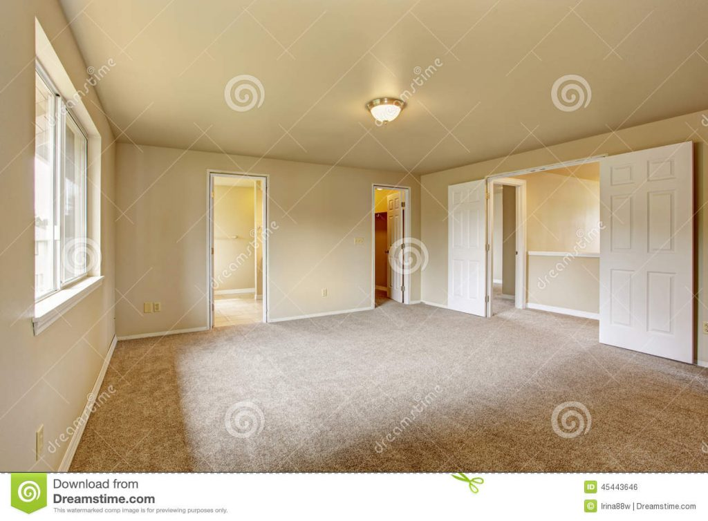 Emtpy Master Bedroom With Bathroom And Walk In Closet Stock Photo