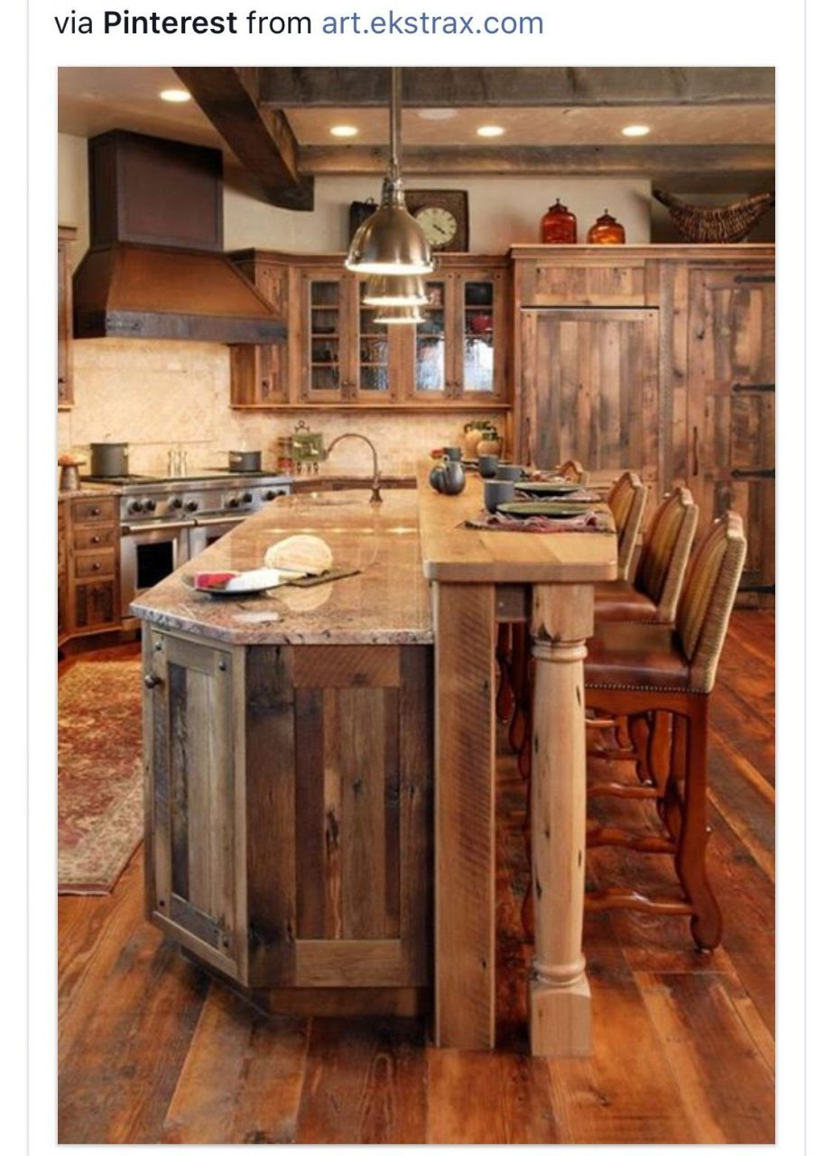 Extra Seating In Kitchen Cabin Remodel In 2019 Rustic Kitchen
