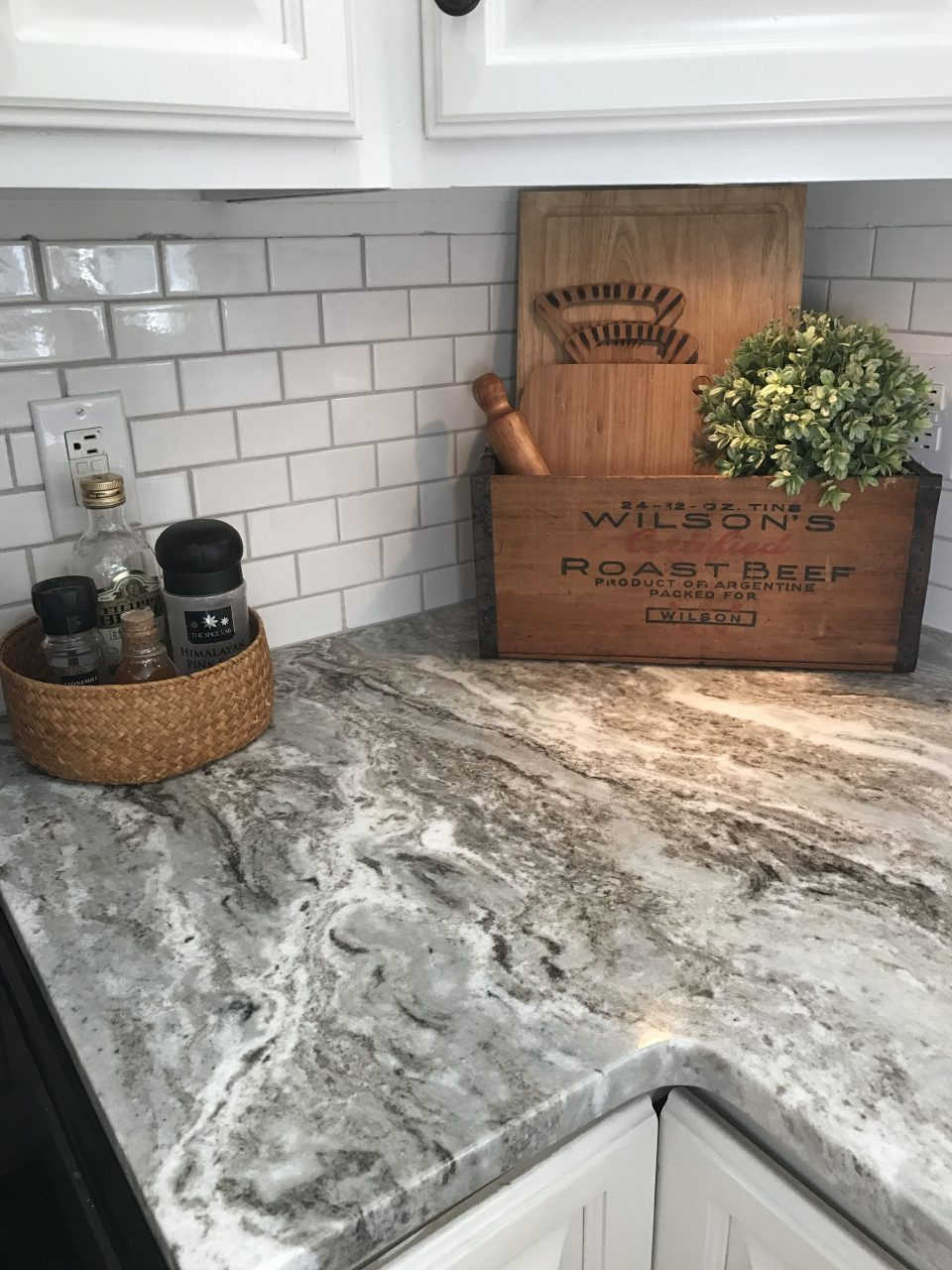 Fantasy Brown Granite With Small White Subway Tiles Our Home In