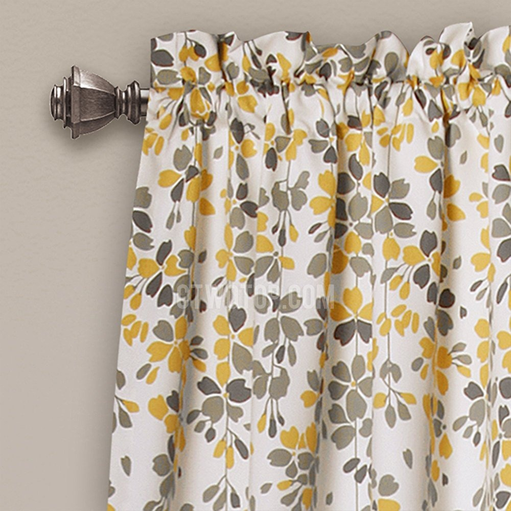 Farmhouse Country Mustard Yellow Leaf Floral Window Curtains Sliding