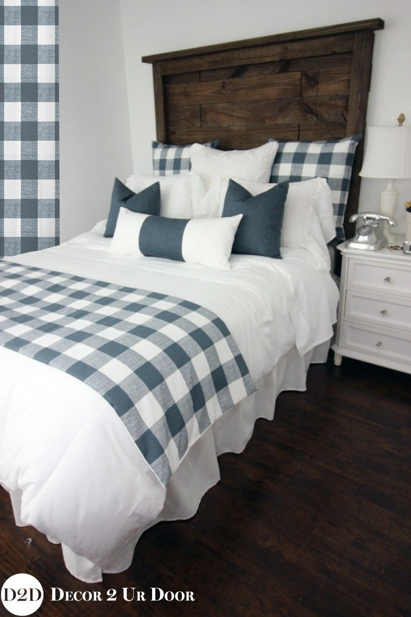 Farmhouse Gunmetal Gingham Check Plaid Custom Designer Bedding