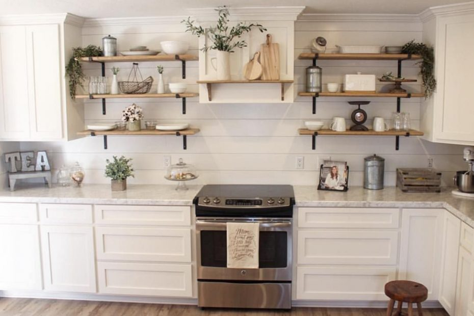 Farmhouse Kitchen With The Open Shelving Decor Its