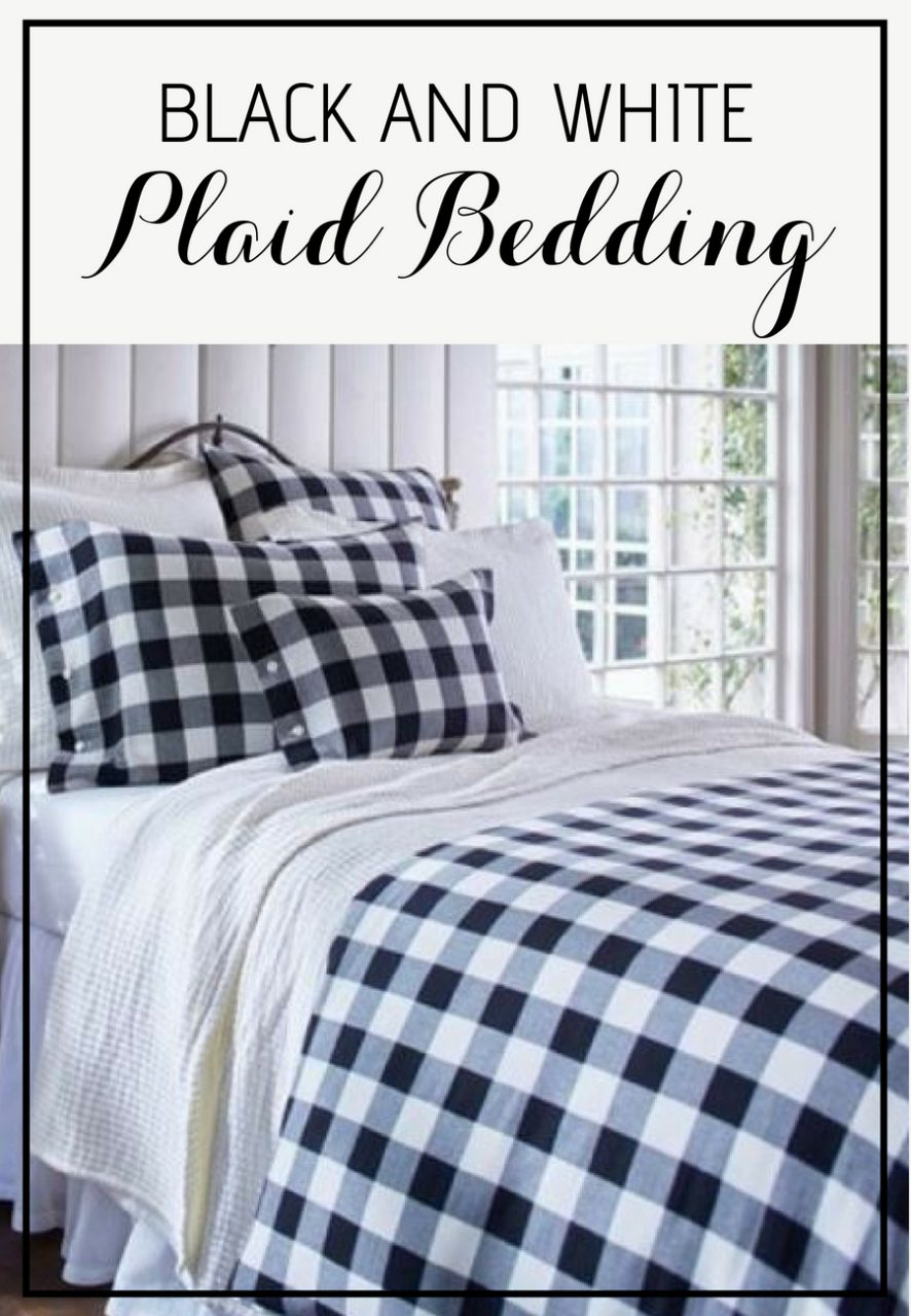 Farmhouse Style Bedding Set Black And White Buffalo Check Plaid
