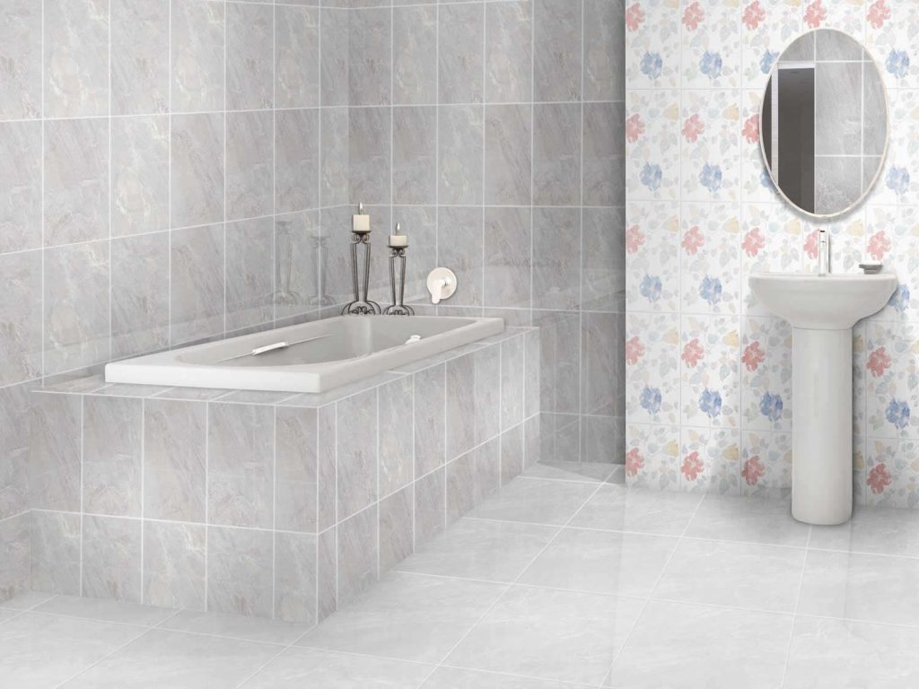 Flores Grey Shiny Ceramic Wall Tile 400 X 250mm