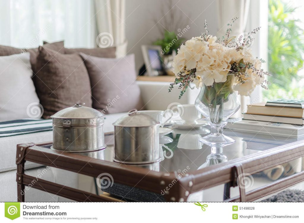 Flower In Glass Vase On Table In Living Room Stock Photo Image Of