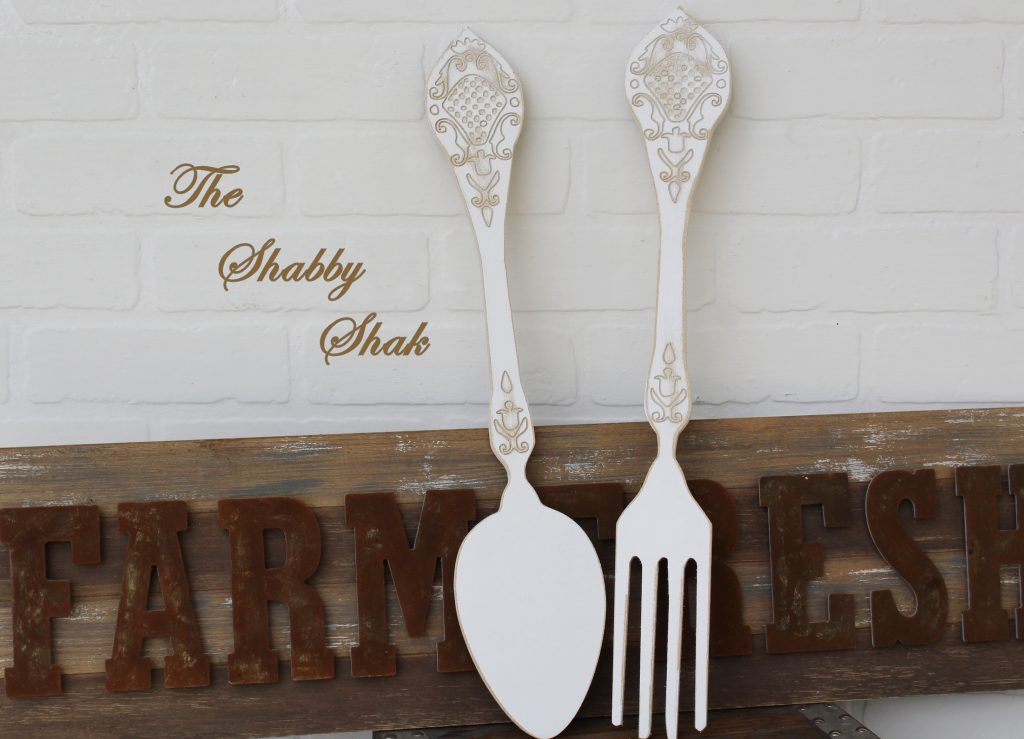 Fork And Spoon Wall Decorkitchen Wall Decor Rustic Kitchen Etsy
