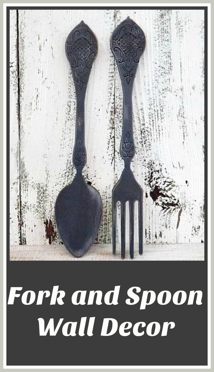 Fork And Spoon Wall Decorkitchen Wall Decor Rustic Kitchen Large