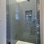 Blue Grey Glass Tile Bathroom