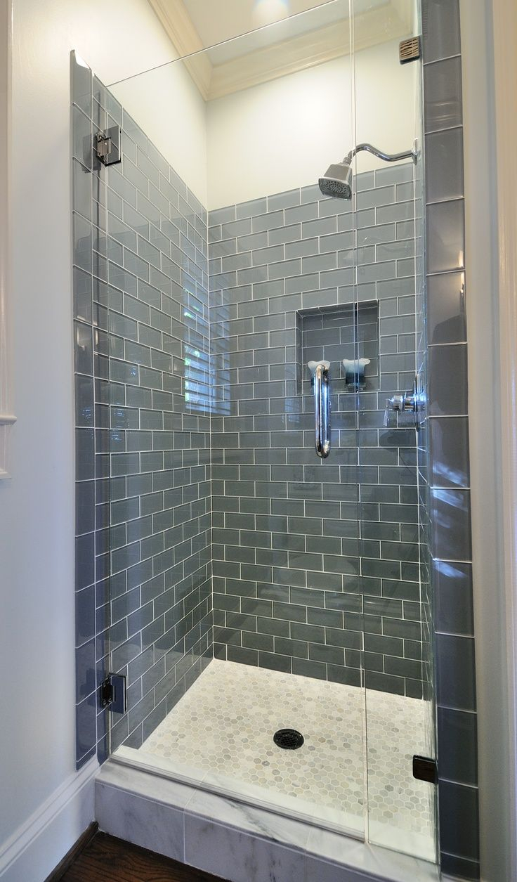 Frameless Shower With Smoky Blue Gray Subway Tile Bathroom