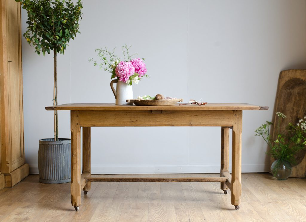 French Antique Farmhouse Country Rustic Dining Kitchen Table