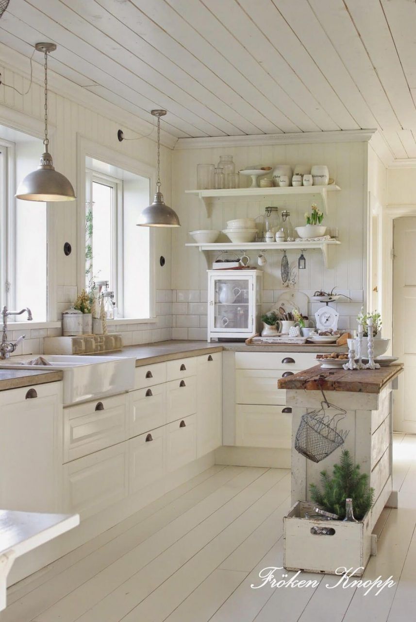 French Country Kitchen With Butcherblock Island Country
