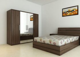 A Picture of a Bed with Wardrobe and Bedroom