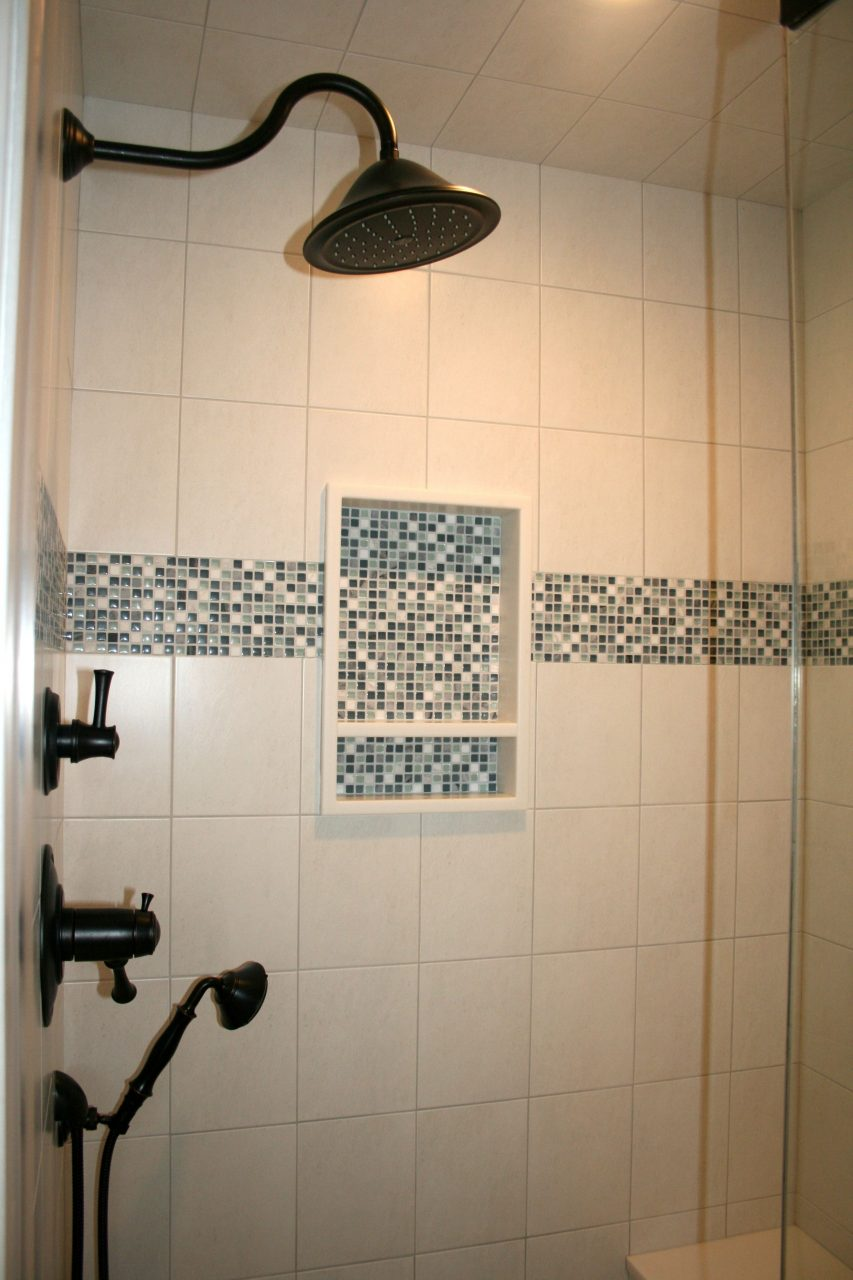 Glass Tile Mosaic Shower Niche And Accent Border Shower Niche In