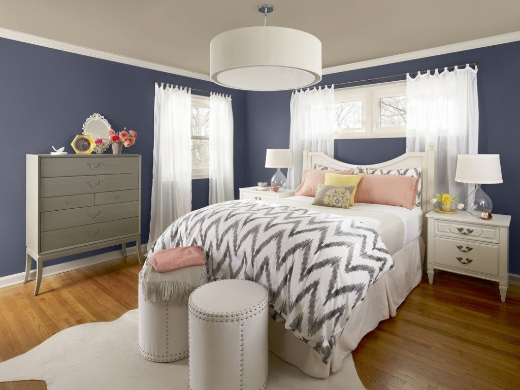 Grey And Blue Wall Black Bed Formidable Small Bedroom Design Ideas