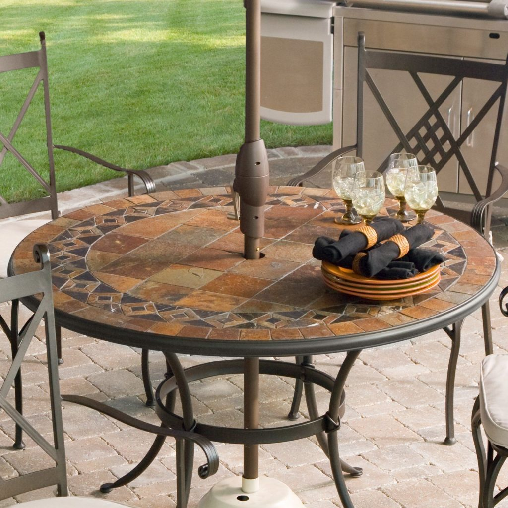 Have To Have It Palazetto Lucca 48 Inch Round Mosaic Patio Dining