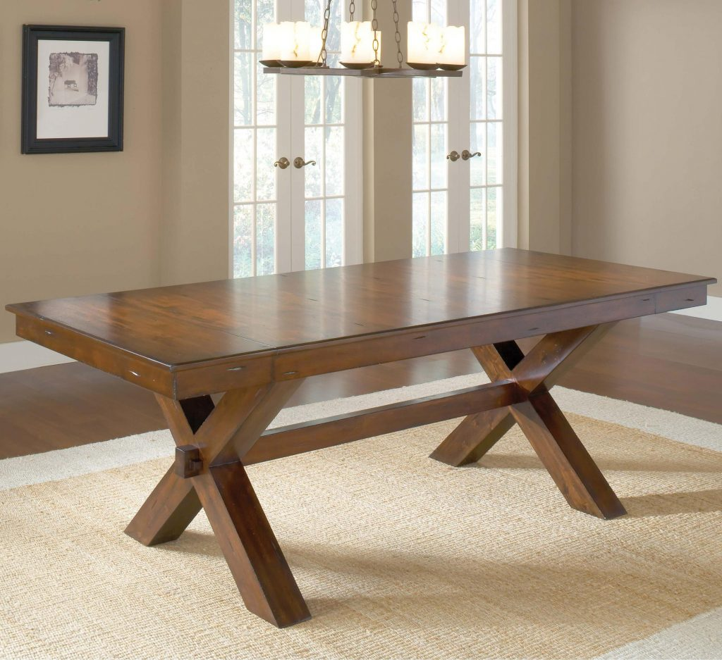 Hillsdale Park Avenue Trestle Dining Table W 2 Leaves Olindes