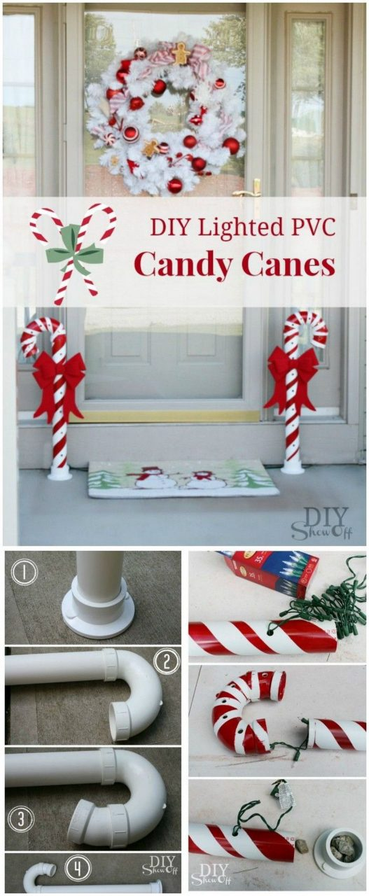 How To Make A Lighted Pvc Candy Cane Decoration Christmas