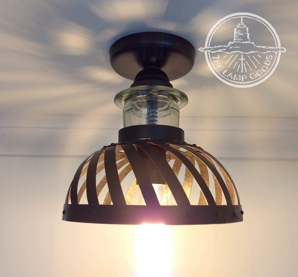 Industrial Ceiling Light With Vintage Cage Glass Lighting Etsy