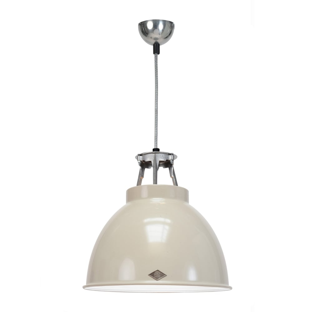 Industrial Ceiling Pendant In Putty Grey With White Interior