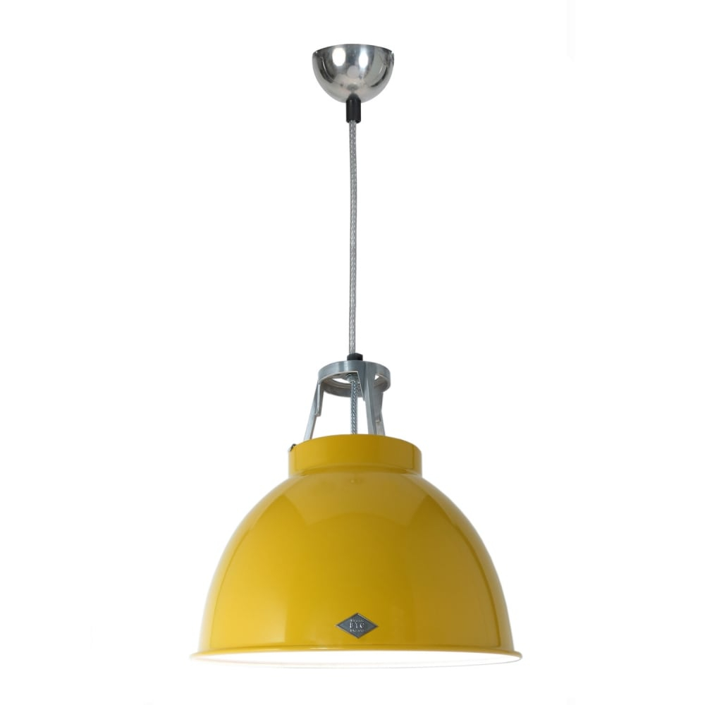 Industrial Ceiling Pendant In Yellow With White Interior
