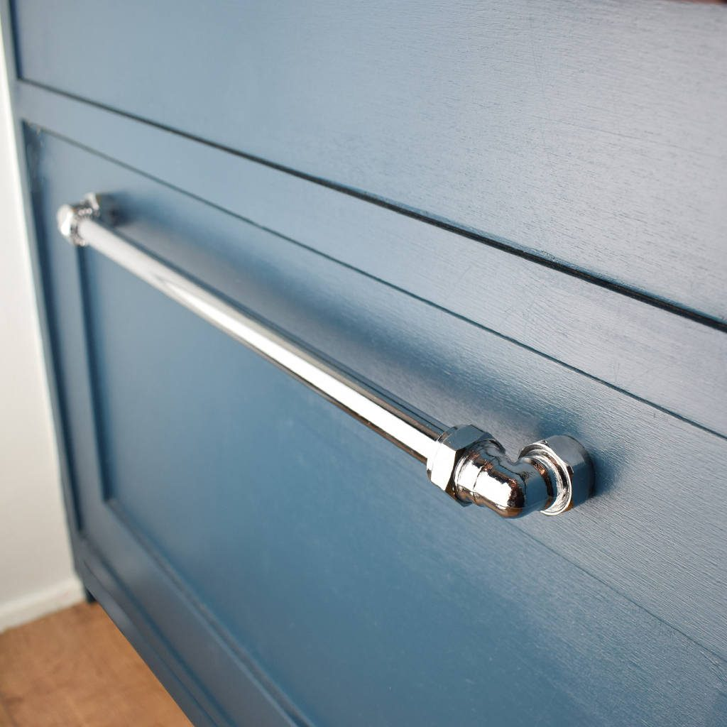 Industrial Chrome Pull Long Drawer Pull Cabinet Hardware Etsy