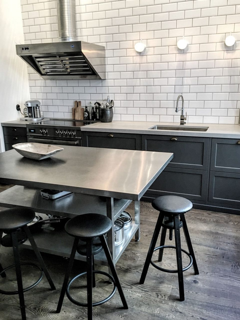 Industrial Kitchen Me Metal Island Dark Cabinets Subway