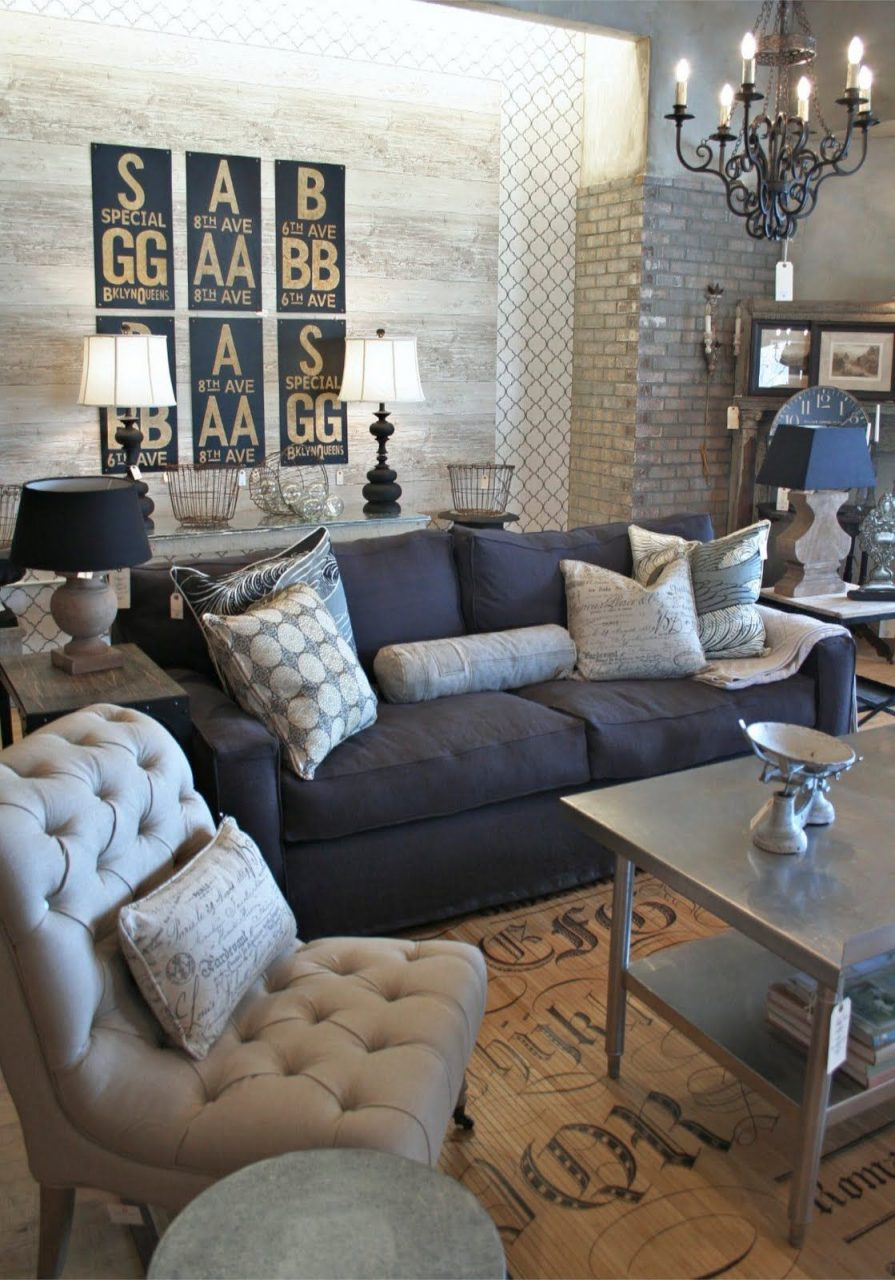 Industrial Living Room Color Scheme With Dark Couch Love This