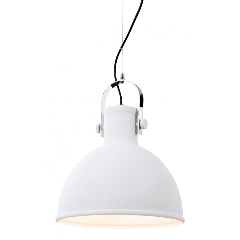 Industrial Style Ceiling Pendant In White With Chrome Detail