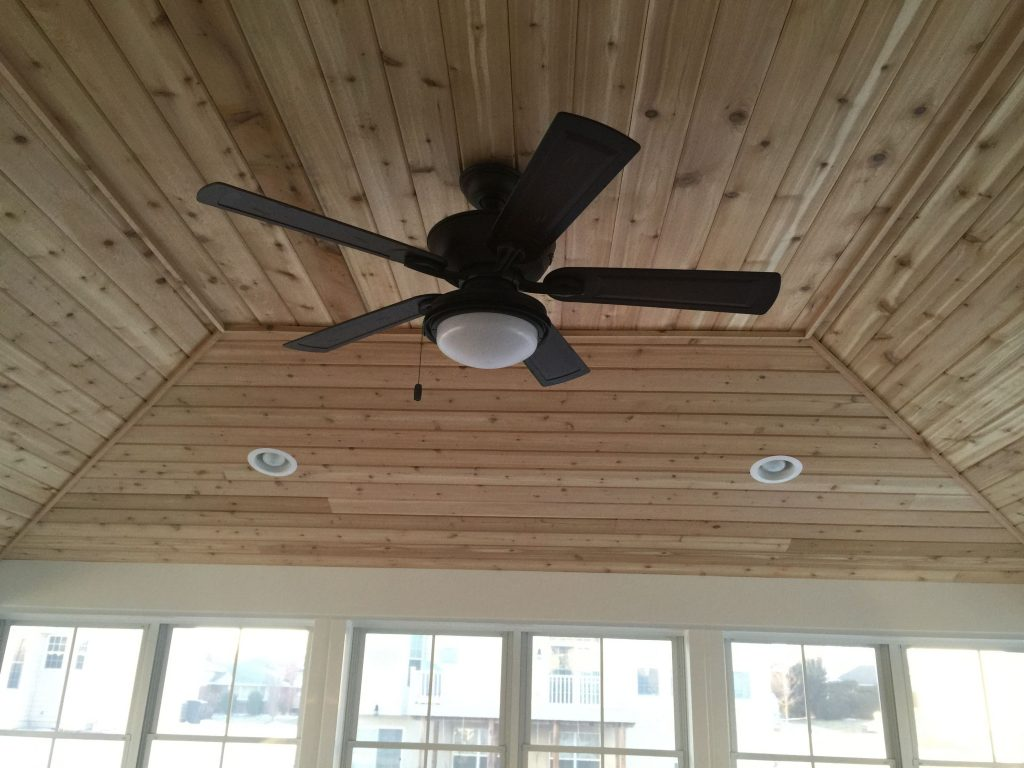 Inside View Of Screen Room Hip Style Roof Cedar Tongue Groove