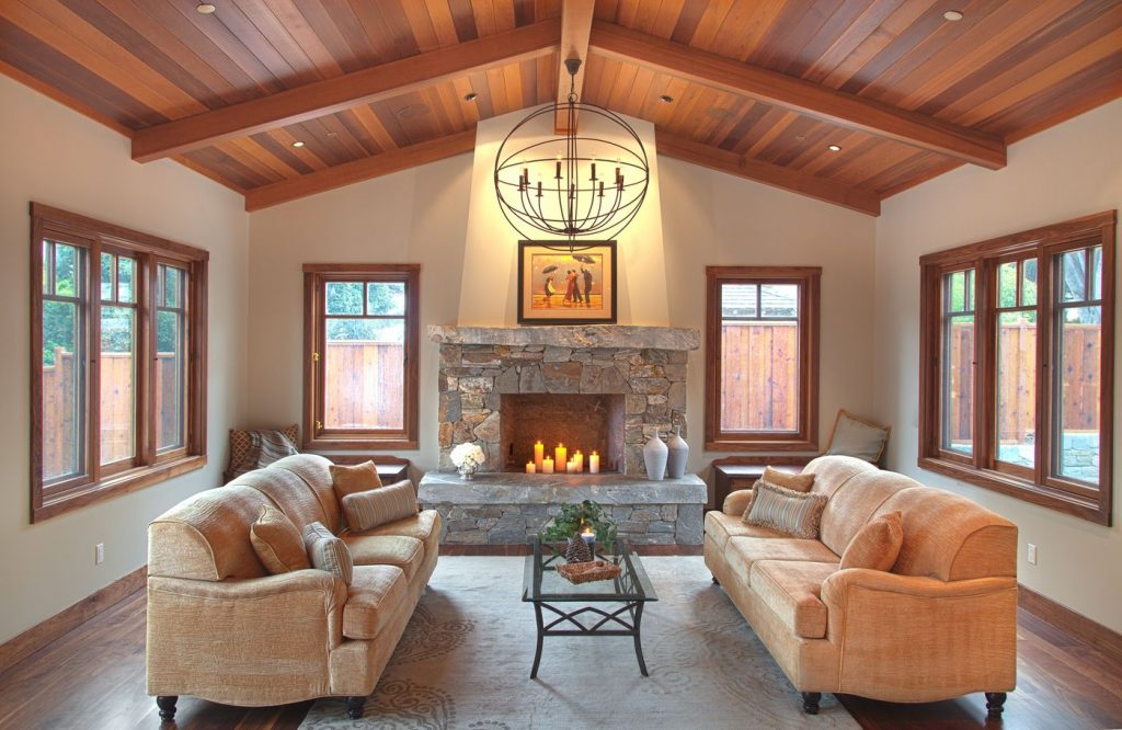Isabella Great Room Western Red Cedar Tongue Groove Ceiling