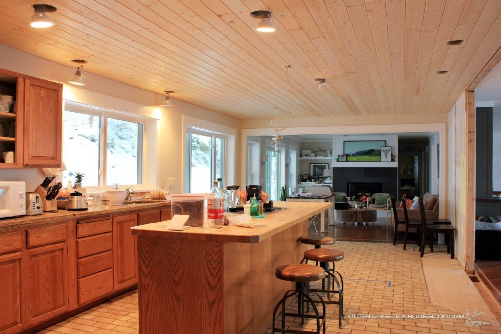 Kitchen Ceiling Tongue And Groove Planks Toward Family Room Ceilings