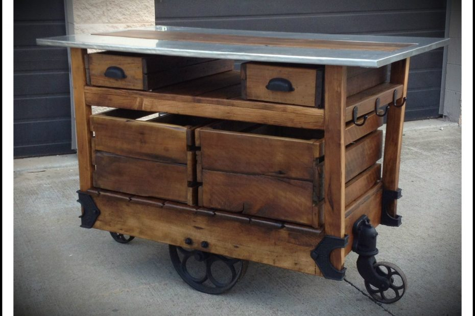 Kitchen Island Rustic Rolling Kitchen Island With Stainless Steel