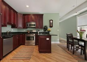 Wall Colors with Dark Wood Kitchen Cabinets