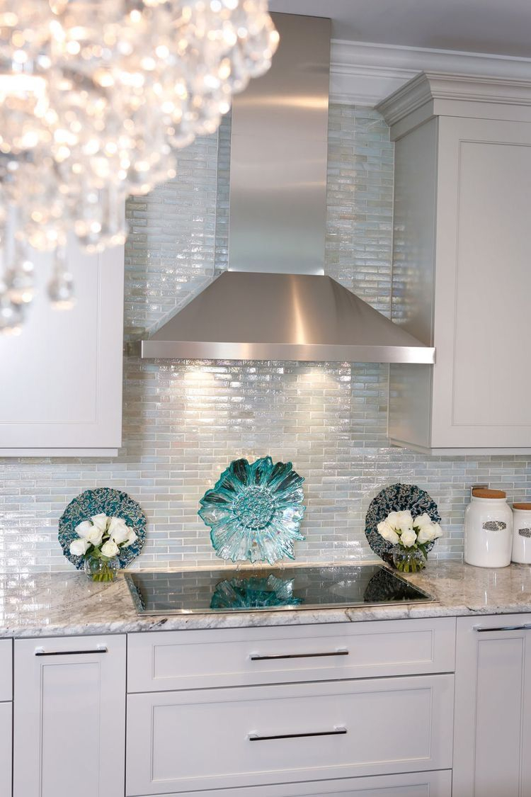 Kitchen White Cabinets Aqua Accessories Tile Backsplash Home