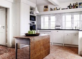 Red Brick Floor Kitchen